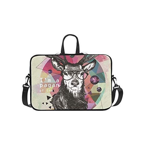 Free Hand Colored Illustration of Deer in Hipster Pattern Briefcase Laptop Bag Messenger Shoulder Work Bag Crossbody Handbag for Business Travelling