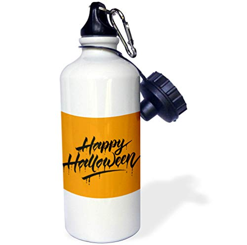 3dRose Sven Herkenrath Celebration - Scary Happy Halloween Quotes with Orange Background - 21 oz Sports Water Bottle (wb_294690_1) by 3dRose