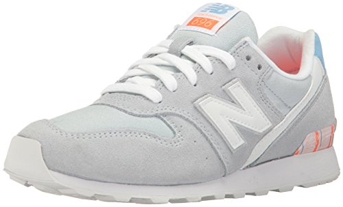 New Balance Women 696 Lifestyle Fashion Sneaker Light Porcelain Blue/White