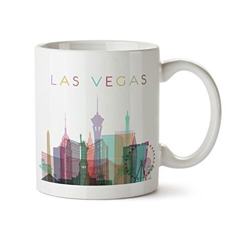 Las Vegas City Silhouette View Colorful Minimal Design Coffee Mug - Ceramic - 11 oz - Las Vegas Souvenir Cup Mom, Dad, Boyfriend, Girlfriend
