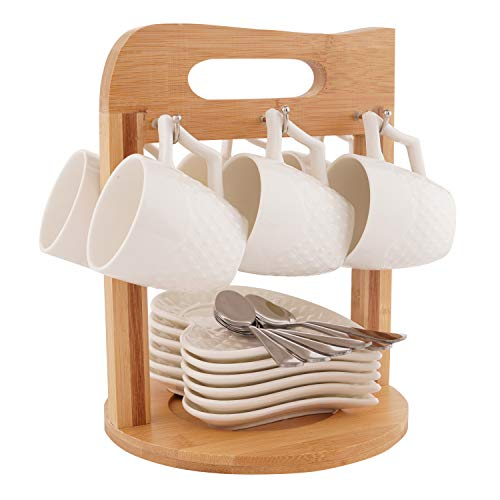 Porcelain Coffee Espresso Tea Cups and Saucers Set Ceramic Cups and Saucers with Bamboo Rack Stand for Home and Office with 6 Bonus Spoons White by SOPRETY (Cup Porcelain Creamer)