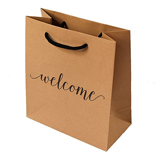 Welcome Gift Bag with Hang Tag - High Quality Kraft Paper | Set of 25 | Perfect for hotel weekend wedding guests bridesmaid groomsmen gift bridal baby shower favor