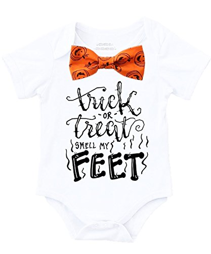 Noah's Boytique Baby Boy Halloween Outfit Trick Treat Costume Toddler Black with Orange Pumpkin Bow Tie 0-3 (Pumpkin Bow)