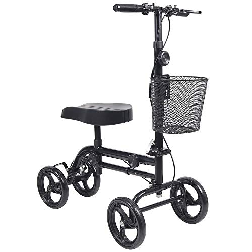 Knee Scooter Give Me Steerable Knee Walker Crutch Alternative With Basket And Dual Hand Brake Black