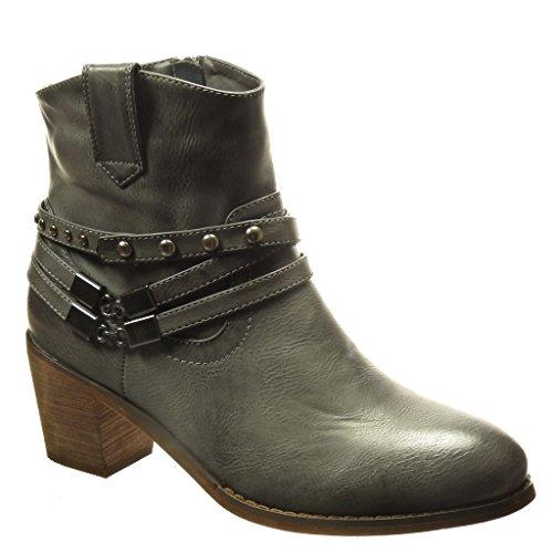 Angkorly - Chaussure Mode Bottine santiags - cowboy femme clouté chaïnes boucle Talon haut bloc 5.5 CM - Intérieur Fourrée - Gris