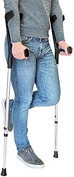 PEPE-MULETAS, Muletas adulto regulables aluminio, Muletas ortopédicas, Muletas adulto regulables, Muleta negra, Pack 2 unidades