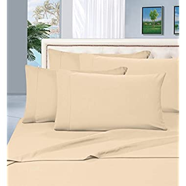 #1 Rated Best Seller Luxurious Bed Sheets Set on Amazon! Elegant Comfort® 1500 Thread Count Wrinkle,Fade and Stain Resistant 4-Piece Bed Sheet set, Deep Pocket, HypoAllergenic - Queen Cream