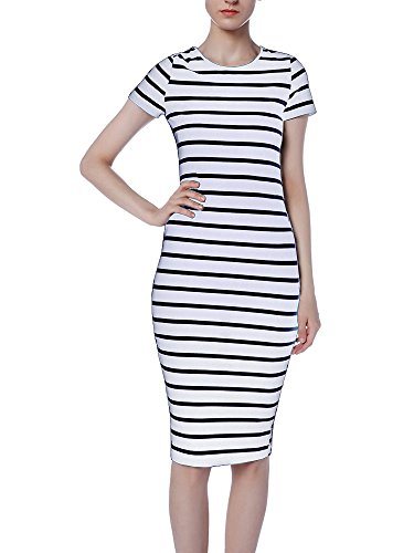 Applerclothing Women Summer Fashion Short Sleeve White Black Striped Mid-Calf Sheath Dress