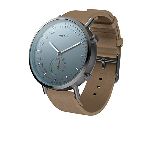 Misfit Command Stainless Steel and Silicone-Backed Leather Hybrid Smartwatch; Grey Brown; MIS5027