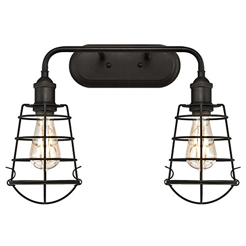 Westinghouse 6337700 Oliver Two Indoor Wall Fixture, Oil Rubbed Bronze Finish with Cage Shades, 2 Light - Oil Rubbed Bronze Vanity Lights