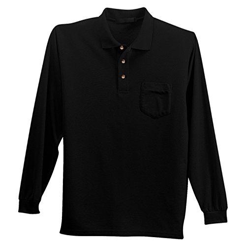 Lg Performance Polo - LogoUp Paragon Dri-Tech Performance Long Sleeve Pocket Polo - Large - Black