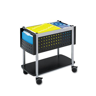 (Scoot Open Top Mobile File Cart, 28w x 14-3/4d x 26h, Black With Silver, Sold as 1 Each)