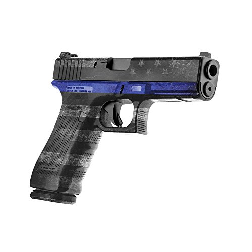 GunSkins Pistol Skin Camouflage Kit DIY Vinyl Handgun Wrap with precut Pieces (Thin Blue Line)