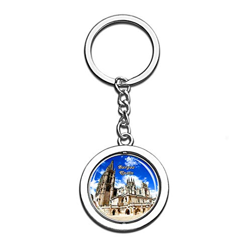 Burgos Collection - Burgos Spain 3D Crystal Creative Keychain Spinning Round Stainless Steel Key Chain Ring Travel City Souvenir Collection