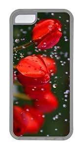 case popular cases red roses rain drops TPU Transparent Case for iphone 5C