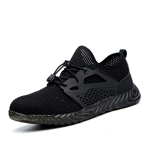 UPSTONE Mens Steel Toe Safety Work Shoes, Lightweight Breathable Casual Outdoor Athletic Slip Resistant Fashion Sports Sneakers, 701 Black 41