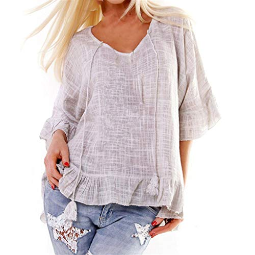 Tantisy ♣↭♣ Women's Summer Cotton and Linen T Shirt V-Neck Ruffle Sleeve Comfy Ladies Drawstring Loose Blouse Gray