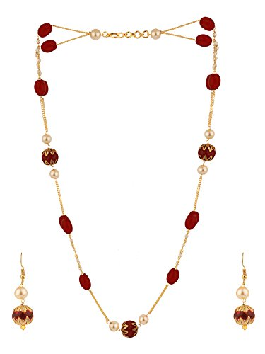 Efulgenz Indian 14 K Gold Plated Layered Pink Faux Ruby Pearl Beads Strand Neckalce Earrings Set Fashion Costume Jewelry