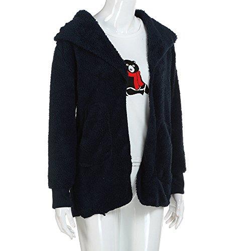 Solid Hooudo Bleu À Manches Marine Manteau Femme Capuche Longues 4xgw4rAq
