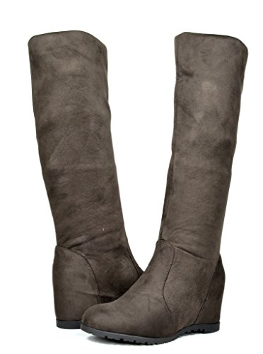 DREAM PAIRS Betsie Women's Fashion Stylish Pull On Casual Hidden Wedge Knee High Boots Brown Size 10