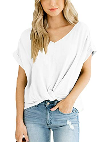SAMPEEL Womens Casual Breathable T-Shirts Short Sleeve Twist Knot V Neck Tops White -