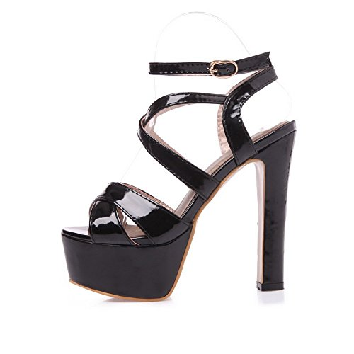 Adee Ladies cross-body-strap high-heels Poliuretano Sandalias Negro - negro