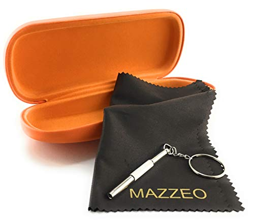 Case Hard Orange - Mazzeo Hard Shell Glasses Case Kit With a Cleaning Cloth and Repair Tool For Men or Women (Orange), Medium