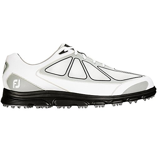 Closeout Athletic Shoes (FootJoy Superlites Athletic Spikeless Golf Shoes 2016 CLOSEOUT White/Grey/Black Medium)