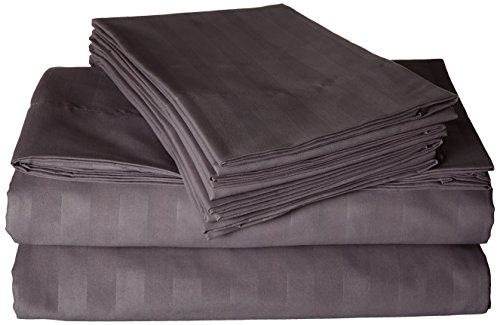 Elegant Comfort Silky-Soft 1500 Thread Count Egyptian Quality Wrinkle-Free 6-Piece STRIPE Sheet Set , King Gray