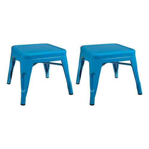 Sensational Sprogs Tolix Style Square Metal Stool 12 H Blue Spg Lamtechconsult Wood Chair Design Ideas Lamtechconsultcom