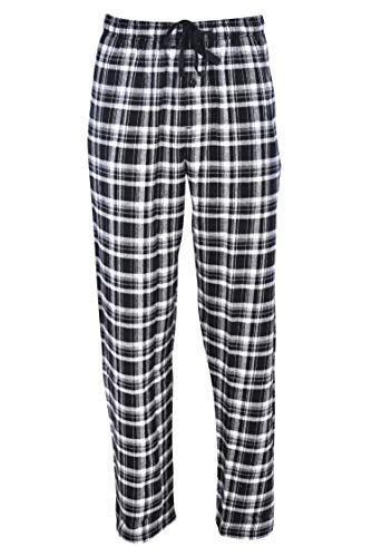 Hanes Men's 100% Cotton Flannel Plaid Pajama Pant, Black, X-Large