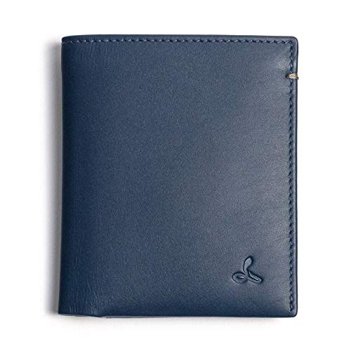 Snakehive Real Leather RFID Blocking Mens Slim Wallet Credit Carder Holder Bifold In Eco Friendly Packaging (Navy and Grey)