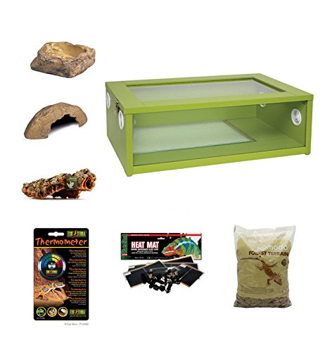 The Pet Express Medium Royal Python Ball Python Starter Kit Monkfield Vivarium Green (24 Inch)