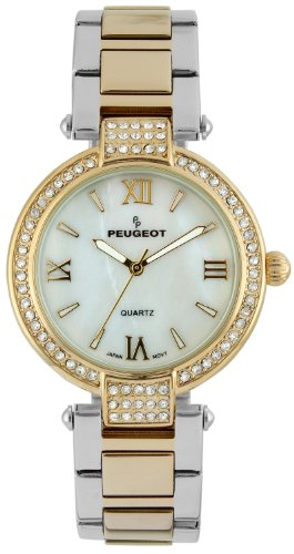 Peugeot Women's 7084TTG Crystal-Accented Stainless Steel Watch with Link Bracelet ()
