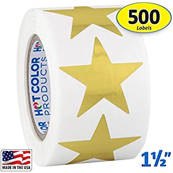 52bd43df48b57d Amazon.com   Metallic Gold Star Shape Stickers Shiny Foil Teacher ...