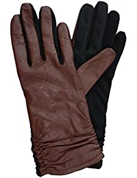 Womens Ruched Brown Leather Tech & Text Smart Gloves