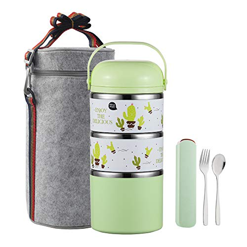 YBOBK HOME Cute Bento Lunch Box with Flatware Set Stackable Lunch Box Stainless Steel Lunch Box Leak Proof Bento Box Insulated Reusable Meal Prep Container for Kids and Adults (3-Tier, Green)