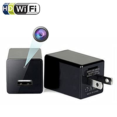 Wifi Wall Charger Mini Camera - 1080P HD P2P Wireless Wifi Video Camcorder,Security Home Nanny Pet Baby Cam for IOS iPhone Android Phone APP Remote View,USB AC Plug Adapter Camera with Motion Detectio