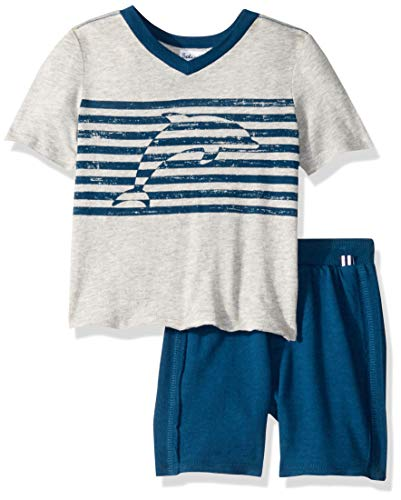Splendid Boys' Toddler Dolphin Stripe Screen Print Set, Light Grey Heather, -