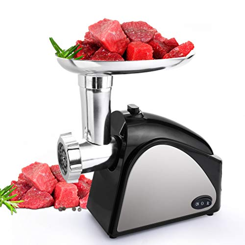 Meat Grinder Electric for Home Use with 3 Grinding Plates and Sausage Stuffing Tubes Stainless Steel (Upgrade Model - 2000W Max) ()