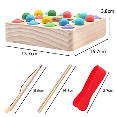 Montessori Toys for Toddlers Wooden Fishing Game Fine Motor Skill Learning Magnet Fishing Pole Clamp Chopsticks 10 Fishes & Beads Preschool Math Education Gift for Kids Child Age 3 4 5 6 Year Old: Toys & Games