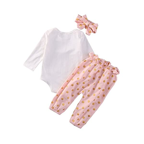SCFEL Neonata appena nata del bambino Coniglio Stampa pagliaccetto + Dot pantaloni + fascia che coprono le Outfits 2
