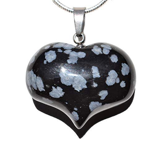 Zenergy Gems Selenite Charged Natural Snowflake Obsidian Crystal Puffy Heart Pendant + 20