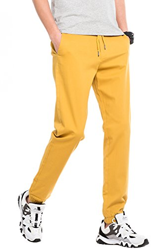 INFLATION Athletics Men's Twill Jogger Pants Soft Stretch Slim Fit (Classic Stretch Cotton Trouser)