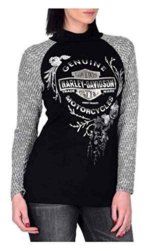 (Harley-Davidson Womens New Harvest Embellished Mock Neck Raglan Top, Black)