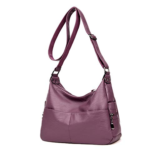 (Alovhad Fashion Shoulder Tote Bags Handbag Messenger Hobo Cross Body Bags Purse Soft PU Leather Top Handle Bags for Women (Purple-Big))