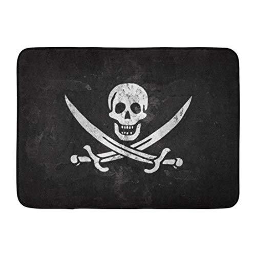 Koperororo Doormats Bath Rugs Outdoor/Indoor Door Mat Jolly Pirate Flag and Wall Roger Skull Anatomy Attention Black Bathroom Decor Rug 16 24 inch;