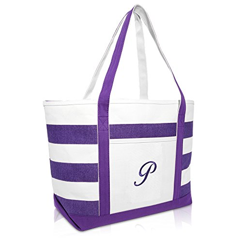 DALIX Monogrammed Beach Bag and Totes for Women Personalized Gifts Purple P