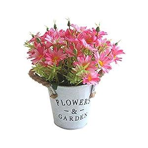 millet16zjh 1Pc Artificial Flower Daisy Metal Pot Bonsai Stage Garden Wedding Party Decor 12