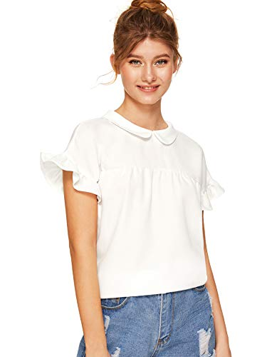 SheIn Women's Cute Striped Peter Pan Collar Short Sleeve Babydoll Blouse Top X-Large Off White